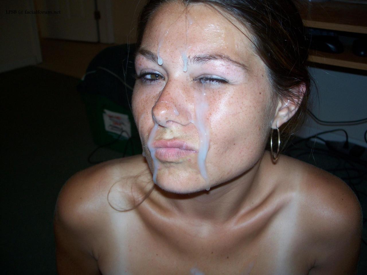 сперма на лице девушки