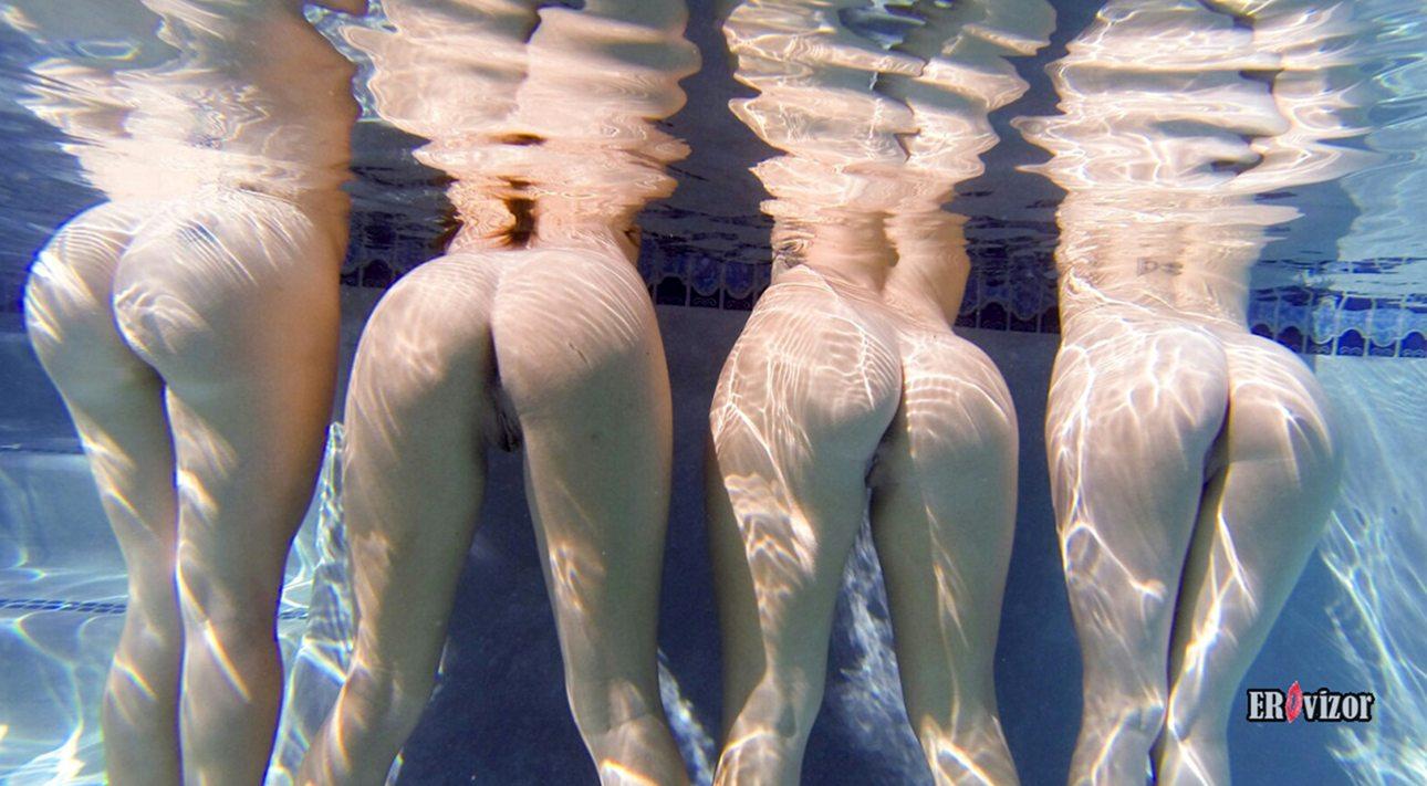 сочные голые попы девушек под водой