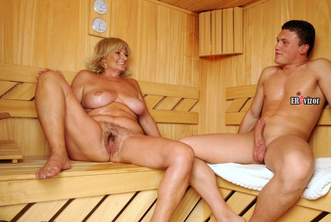 женщина в возрасте с молодым любовником в бане