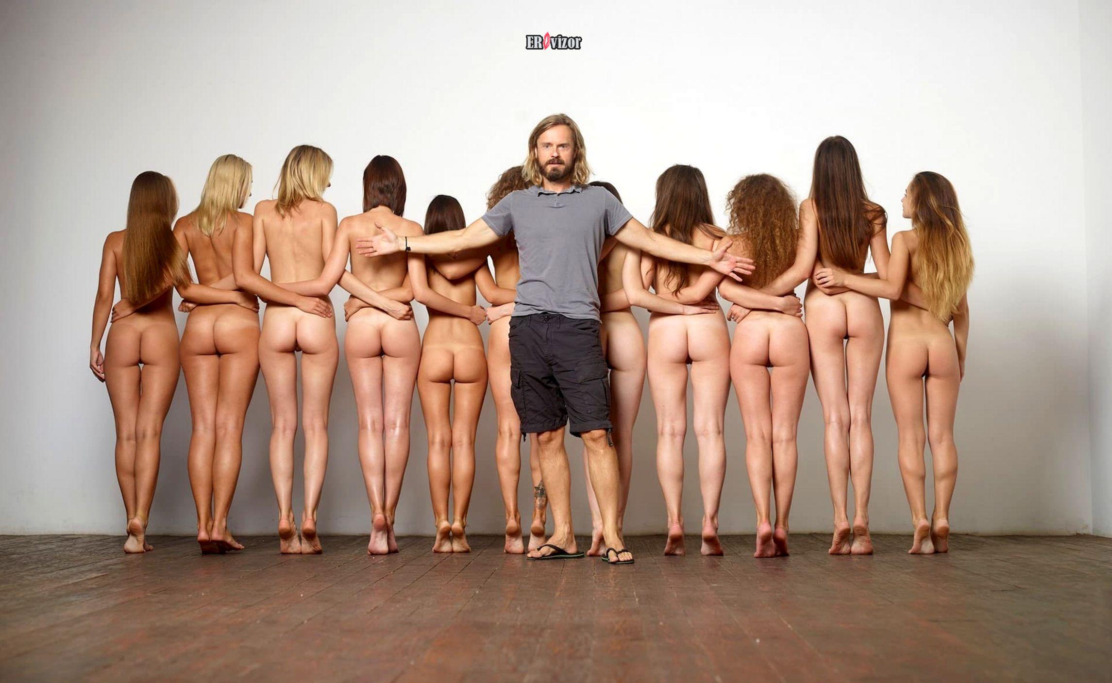 мужик и много голых девушек