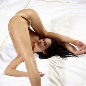 Голая гибкая красавица выгнулась под вагиной